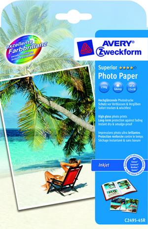 AVERY Zweckform C2495-45R Superior Inkjet Fotopapier, 13 x 18, beidseitig beschichtet, 230 g/m², 45 Blatt C2495-45R
