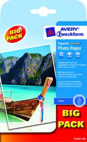 AVERY Zweckform C2549-100 Superior Inkjet Fotopapier, 10x15, beidseitig beschichtet, 200 g/m², 100 C2549-100