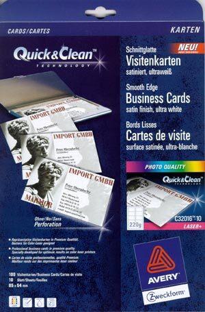 AVERY Zweckform Visitenkarten Click & Clean C32016-10