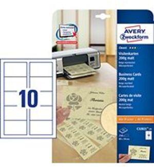 AVERY Zweckform C32021-25 Classic Visitenkarten, 85 x 54 mm, beidseitig beschichtet, 250 Karten / 2 C32021-25