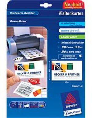 AVERY Zweckform C32026-10 Premium Visitenkarten, 85 x 54 mm, beidseitig beschichtet, 100 Karten / 10 Bogen C32026-10
