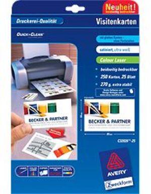 AVERY Zweckform C32026-25 Premium Visitenkarten, 85 x 54 mm, beidseitig beschichtet, 250 Karten / 25 Bogen C32026-25