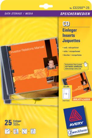 AVERY Zweckform C32250-25 CD-Einleger, 151 x 118 mm, CDs, 25 Bogen/25 Stück, weiss C32250-25
