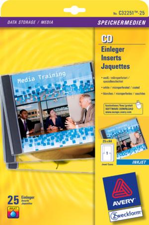 AVERY Zweckform C32251-25 CD-Einleger, 151 x 118 mm, CDs, 25 Bogen/25 Stück, weiss C32251-25