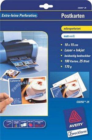 AVERY Zweckform C32252-25 Postkarten, 148 x 105 mm, beidseitig beschichtet, 100 Karten / 25 Bogen C32252-25