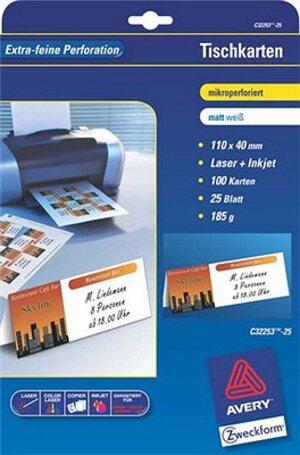 AVERY Zweckform C32253-25 Tischkarten, 110 x 40 mm, beidseitig beschichtet, 100 Karten / 25 Bogen C32253-25