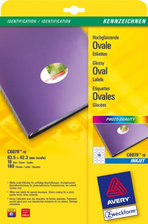 AVERY Zweckform C6079-10 Hochglanz-Etiketten, 63,5 x 42,3 mm, 10 Bogen/180 Etiketten, weiss C6079-10