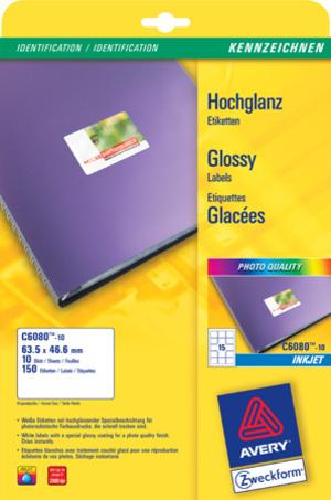 AVERY Zweckform C6080-10 Hochglanz-Etiketten, 63,5 x 46,6 mm, 10 Bogen/150 Etiketten, weiss C6080-10