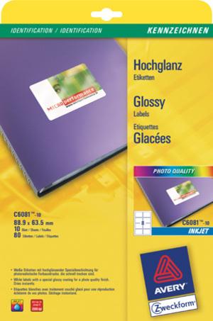 AVERY Zweckform C6081-10 Hochglanz-Etiketten, 88,9 x 63,5 mm, 10 Bogen/80 Etiketten, weiss C6081-10