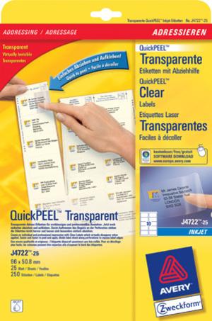 AVERY Zweckform J4722-25 Versandetiketten, 96 x 50,8 mm, B4/C4 Kuverts, Deutsche Post INTERNETMARKE, 25 Bogen/250 Etiketten, transparent J4722-25
