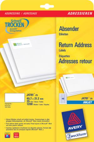 AVERY Zweckform J4791-25 Adress-Etiketten, 45,7 x 21,2 mm, Absender-Etiketten, 25 Bogen/1.200 Etike J4791-25