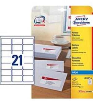 AVERY Zweckform J8160-10 Adress-Etiketten, 63,5 x 38,1 mm, C6 Kuverts, Deutsche Post INTERNETMARKE, J8160-10