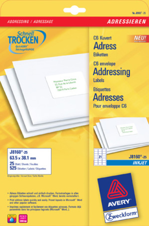 AVERY Zweckform J8160-25 Adress-Etiketten, 63,5 x 38,1 mm, C6 Kuverts, Deutsche Post INTERNETMARKE, 25 Bogen/525 Etiketten, weiss J8160-25