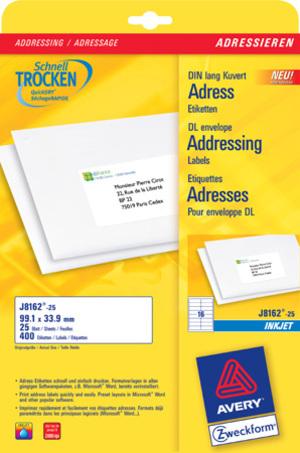 AVERY Zweckform J8162-25 Adress-Etiketten, 99,1 x 33,9 mm, DIN lang Kuverts, 25 Bogen/400 Etiketten J8162-25