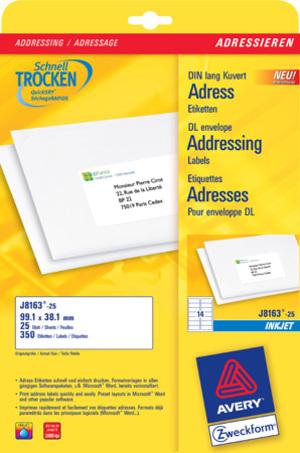 AVERY Zweckform J8163-25 Adress-Etiketten, 99,1 x 38,1 mm, DIN lang Kuverts, 25 Bogen/350 Etiketten J8163-25