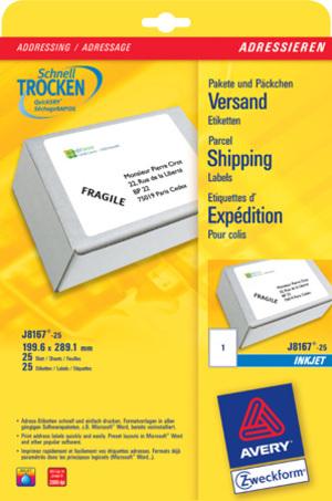 AVERY Zweckform J8167-25 Versandetiketten, 199,6 x 289,1 mm, Pakete, Päckchen, 25 Bogen/25 Etikette J8167-25