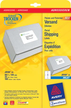 AVERY Zweckform Avery Adress- und Versand Etiketten J8169 J8169-25