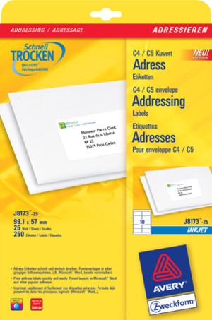 AVERY Zweckform J8173-25 Versandetiketten, 99,1 x 57 mm, B4/C4 Kuverts, Deutsche Post INTERNETMARKE J8173-25