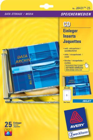 AVERY Zweckform J8431-25 CD-Einleger, 121 x 242 mm, CDs, 25 Bogen/25 Stück, weiss J8431-25