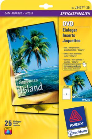 AVERY Zweckform J8437-25 DVD-Einleger, 273 x 183 mm, DVD-Filmbox, 25 Bogen/25 Stück, weiss J8437-25