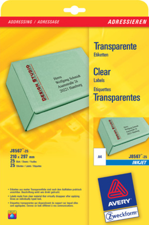 AVERY Zweckform J8567-25 Versandetiketten, 210 x 297 mm, Pakete, Päckchen, 25 Bogen/25 Etiketten, t J8567-25