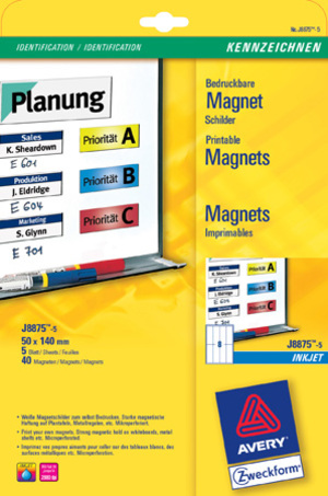 AVERY Zweckform J8875-5 Magnet-Schilder, 50 x 140 mm, unbeschichtet, 5 Bogen/40 Etiketten, weiss J8875-5
