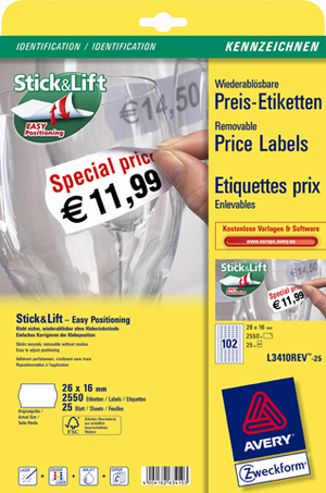 AVERY Zweckform L3410REV-25 Preis-Etiketten, 26 x 16 mm, 25 Bogen/2.550 Etiketten, weiss L3410REV-25