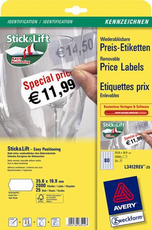 AVERY Zweckform L3412REV-25 Preis-Etiketten, 35,6 x 16,9 mm, 25 Bogen/2.000 Etiketten, weiss L3412REV-25