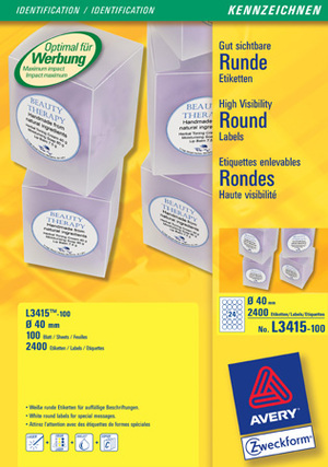 AVERY Zweckform L3415-100 Etiketten in Sonderformaten, Ø 40 mm, 100 Bogen/2.400 Etiketten, weiss L3415-100