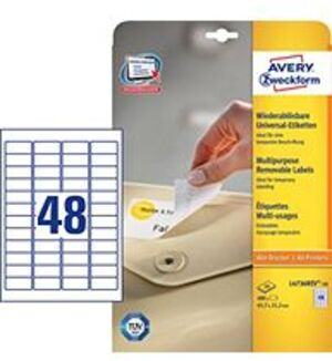 AVERY Zweckform L4736REV-10 Universal-Etiketten, 45,7 x 21,2 mm, 10 Bogen/480 Etiketten, weiss L4736REV-10