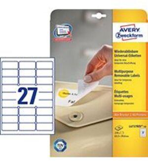 AVERY Zweckform L4737REV-10 Universal-Etiketten, 63,5 x 29,6 mm, 10 Bogen/270 Etiketten, weiss L4737REV-10