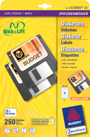 AVERY Zweckform L4738REV-25 Etiketten für Disketten, 70 x 50,8 mm, 25 Bogen/250 Etiketten, weiss L4738REV-25