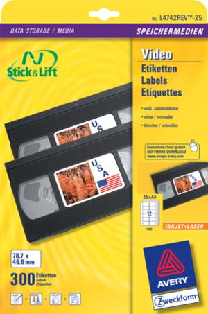 AVERY Zweckform L4742REV-25 Etiketten für VHS-Videokassetten, 78,7 x 46,6 mm, 25 Bogen/300 Etiketten, weiss L4742REV-25