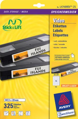 AVERY Zweckform L4746REV-25 Etiketten für VHS-Videokassetten, 147,3 x 20 mm, 25 Bogen/325 Etiketten L4746REV-25