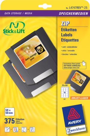 AVERY Zweckform L4747REV-25 Etiketten für ZIP-Disketten, 59 x 50 mm, 25 Bogen/375 Etiketten, weiss L4747REV-25