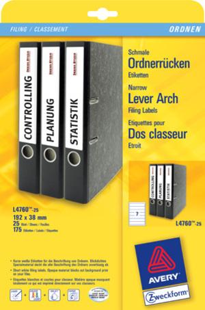 AVERY Zweckform L4760-25 Ordner-Etiketten, 38 x 192 mm, schmale Ordner (kurz), z.B. Leitz, Elba, Es L4760-25