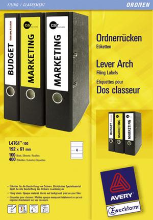 AVERY Zweckform L4761-100 Ordner-Etiketten, 61 x 192 mm, breite Ordner (kurz), z.B. Leitz, Elba, M L4761-100