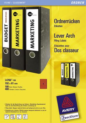 AVERY Zweckform L4766-100 Ordner-Etiketten, 61 x 192 mm, breite Ordner (kurz), z.B. Leitz, Elba, M L4766-100