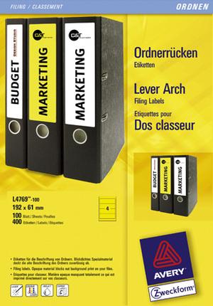 AVERY Zweckform L4769-100 Ordner-Etiketten, 61 x 192 mm, breite Ordner (kurz), z.B. Leitz, Elba, M L4769-100