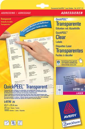 AVERY Zweckform L4770-25 Adress-Etiketten, 45,7 x 25,4 mm, Absender-Etiketten, 25 Bogen/1.000 Etiketten, transparent L4770-25