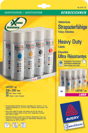 AVERY Zweckform L4775-20 Wetterfeste Folien-Etiketten, 210 x 297 mm, Kennzeichnung Innen- und Ausse L4775-20