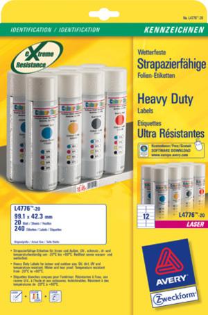 AVERY Zweckform L4776-20 Wetterfeste Folien-Etiketten, 99,1 x 42,3 mm, Kennzeichnung Inventar und E L4776-20