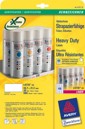 AVERY Zweckform L4778-20 Wetterfeste Folien-Etiketten, 45,7 x 21,2 mm, Kennzeichnung Inventar und E L4778-20