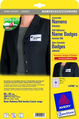 AVERY Zweckform L4786-20 Namensetiketten, 80 x 50 mm, rotem Rand, 20 Bogen/200 Etiketten, weiss, ro L4786-20