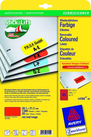 AVERY Zweckform L4790-20 Farbige Etiketten, 38,1 x 21,2 mm, 20 Bogen/1.300 Etiketten, rot L4790-20