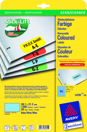 AVERY Zweckform L4791-20 Farbige Etiketten, 38,1 x 21,2 mm, 20 Bogen/1.300 Etiketten, blau L4791-20