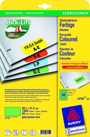 AVERY Zweckform L4792-20 Farbige Etiketten, 38,1 x 21,2 mm, 20 Bogen/1.300 Etiketten, grün L4792-20