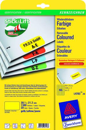AVERY Zweckform L4793-20 Farbige Etiketten, 38,1 x 21,2 mm, 20 Bogen/1.300 Etiketten, gelb L4793-20