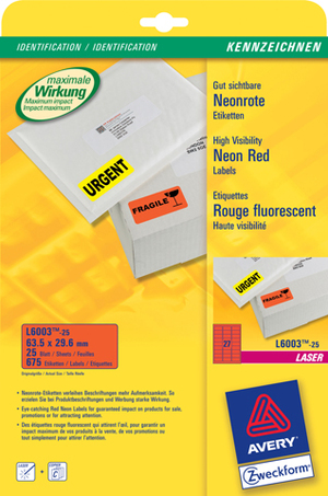 AVERY Zweckform L6003-25 Etiketten in Sonderfarben, 63,5 x 29,6 mm, 25 Bogen/675 Etiketten, neonrot L6003-25