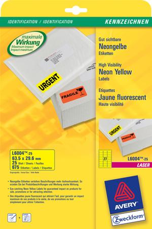 AVERY Zweckform L6004-25 Etiketten in Sonderfarben, 63,5 x 29,6 mm, 25 Bogen/675 Etiketten, neongel L6004-25